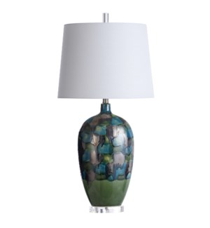 CECCO | 17in w X 35in ht X 14in d | Colorful Reactive Glazed Ceramic and Crystal Table Lamp | 100 wa