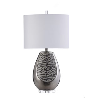 SILVER TIGER | 18in w X 32in ht X 9in d | Silver Tear Drop Shaped Ceramic Table Lamp | 100 watts