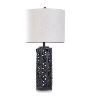 MALTA BLACK | 15in w X 31in ht X 15in d | Cylindrical Open Work Moulded Table Lamp | 150 watts