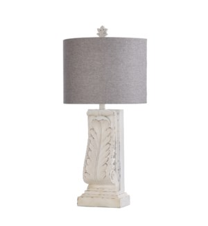 MONTEREY | 14.5in w X 30.5in ht X 8.5in d | Traditional Scrolled Moulded Table Lamp | 100 watts