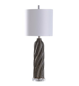 AREZZO GREY | 13in w X 35in ht X 13in d | Cylindrical Table Lamp with Diagonal Texture and Acrylic B