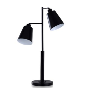 BLACK METAL | Casual Metal Task Desk Lamp with Adjustable Shade Positioning | 14in w X 31in ht X 9in