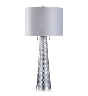 GLASS/STEEL TABLE LAMP