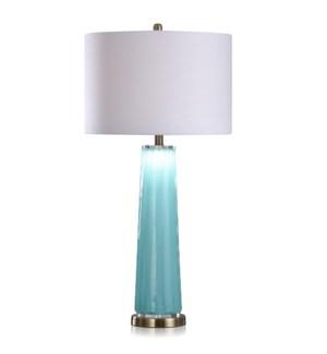 SOLAPUR SKY | 34in ht  X 17in w  X 17in d  | Contemporary Ocean Blue Art Glass Body Table Lamp | 150