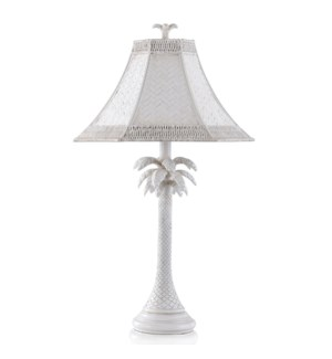 WHITE WASHED | 28in ht  X 16in w  X 16in d  | Traditional Coastal Palm Table Lamp with Woven Hex Rat