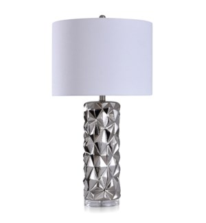 KELOWNA SILVER | Contemporary Ceramic Body with Clear Acrylic Base Table Lamp | 16in w X 30in ht X 1