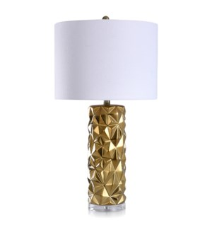 KELOWNA GOLD | Contemporary Ceramic Body with Clear Acrylic Base Table Lamp | 16in w X 30in ht X 16i