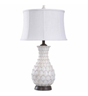 Table Lamp with Round Self Fabric Trimmed Shade