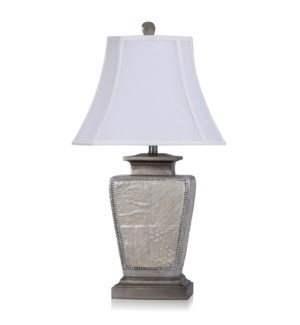 Austin patchwork table lamp with bronze cream  gold leaf finishes Textile shade of natural linen