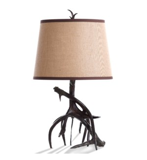 DALTON | Antler Table Lamp with Burlap Drum Shade Trimmed nn Leather | 15in w X 27in ht X 15in d | 1