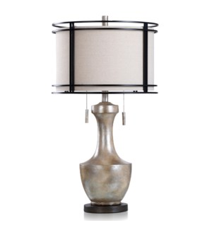 LAYLA SILVER   Mid Century Modern Design Table Lamp with Designer Metal Frame Caged Shade   16in w X