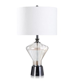GRECIAN GOLD | Plated Glass and Black Chrome Table Lamp | 18in w X 31in ht X 18in d | 150 Watts