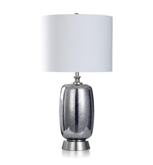 METALLIC SAPPHIRE   Mercury Glass & Brushed Steel Table Lamp   18in w X 34in ht X 18in d   150 Watts