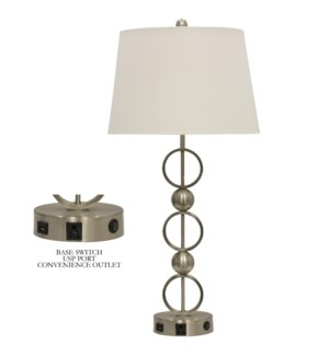 Brushed Steel | Metal Table Lamp with Convenience Outlet  USB Port & Base Switch