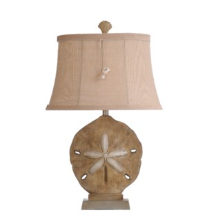 Large sand dollar vipiteno finish with silver accents woven fabric shade with shell tassel