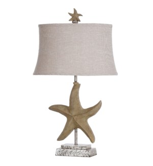 Single starfish motif in Florentine finish with designer fabric shade and starfish finial