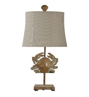 Crab fossil in Lakeport finish on metal stand with designer fabric shade and shell finial
