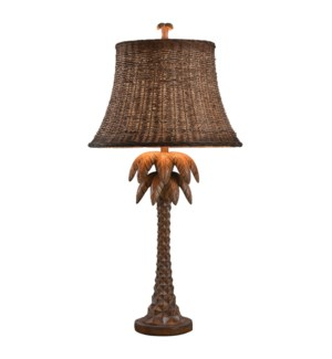 Hand carved Palm Tree Design Table Lamp with Woven Rattan Shade