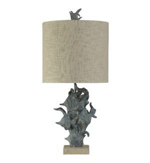 Hand carved Fish Underwater Table Lamp in St Kilda Finish on Square Base Fabric Drum Shade
