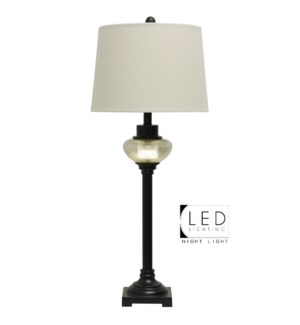 Madison Bronze Finish On Metal Buffet Lamp With LED Globe And Fabric Drum Shade
