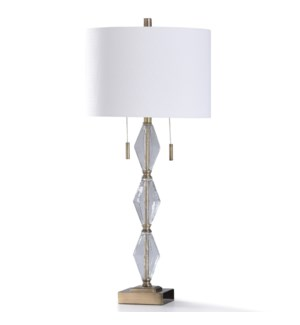 ADELINE TABLE LAMP | 34in ht. | Traditional Old Brass Metal Structure Buffet Table Lamp with Clear S