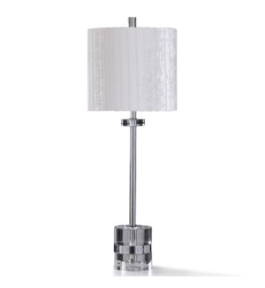 CASCADE SILVER TABLE LAMP | 31in ht. | Transitional Chrome Metal Buffet Table Lamp with Clear Crysta