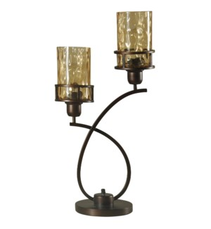 Bronze | Metal Glass Shade Uplight with Base Switch | Edison Bulbs Included