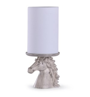 Prussia White | 15in Carved Horse Head Uplight with Linen Shade | 60W | Inline Switch