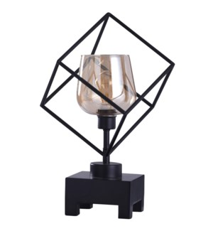 Axis Bronze | 20in Instustrial Square Glass Uplight with Wood Base and Edison Bulb | 40W | Inline Sw