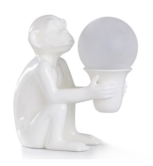 HALIFAX ACCENT LAMP | 16in ht. | LED Sitting Monkey Figurine Accent Lamp with Frosted Glass Globe Sh
