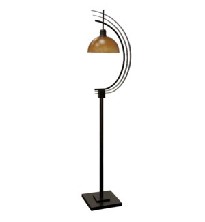 Bronze and Amber Glass | Mid-Century Modern Transitional Design Floor Lamp with Metal Body and Glass