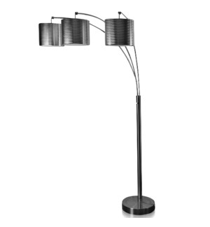 BRUSHED STEEL | 75ht | Modern Metal Arch Three Head with Adjustable Position Arms Floor Lamp | 60 Wa