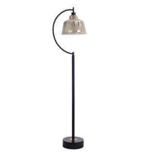 Black Water Floor Lamp | 65In Metal Base With Glass Pendant Shade | 40 Watts | On-Off Switch | Ediso