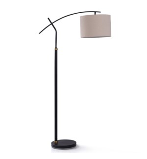 DUDLEY BLACK FLOOR LAMP | 13in w. X 60in ht. | Transitional Adjustable Arm Task Arch Floor Lamp with