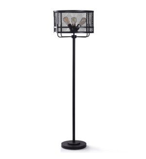 SATIN BLACK FLOOR LAMP | 63in ht. | Industrial Design Metal Three Socket Floor Lamp with Steel Wire