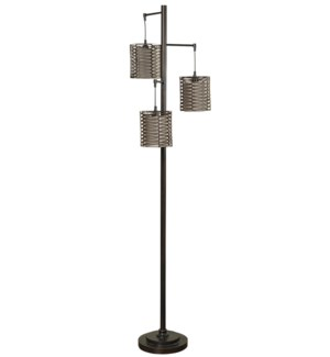 Contemporary Metal Floor Lamp Hand Woven Shades