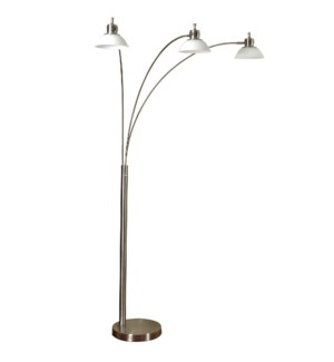 Triple Arm Arch Lamp in Brushed Steel and LED White Glass Shades