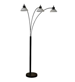 Triple Arm Arch Lamp in Madison Bronze Finish Steel and LED White Glass Shades