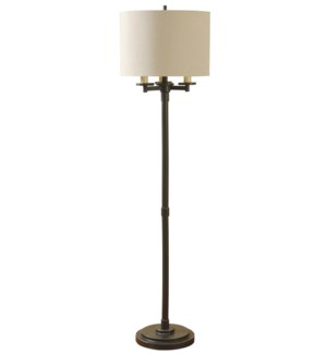 Madison Bronze Finish Four Arm Floor Lamp With Fabric Drum Shade