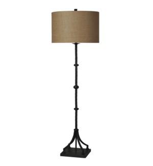 Industrial Bronze   Traditional   Cast Iron Floor Lamp   100W   3-Way   Hardback Shade