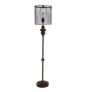 Industrial Design Open Metal Mesh Shade Floor Lamp in Dark Bronze & 60 Watt Edison Bulb Included