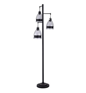 Painted Black | Metal Body Modern Design Floor Lamp with Suspending Glass and Metal Accent Shades |