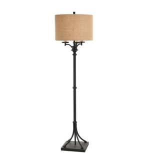 INDUSTRIAL BRONZE | 17in w X 63in ht X 17in d | Traditional Floor Lamp with Regular and 3 Candlestic