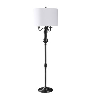 BRUSHED BLACK STEEL | 17in w X 65in ht X 17in d | Traditional Floor Lamp with Regular and 3 Candlest
