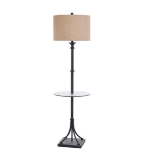 INDUSTRIAL BRONZE | 17in w X 61in ht X 17in d | Transitional Iron Floor lamp with Glass Table | 150