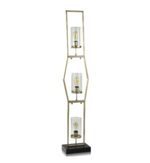 STEEL/ GLASS FLOOR LAMP