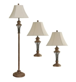 QB-Moraga Set of 3 Lamps | 2 Table Lamps & 1 Floor Lamp