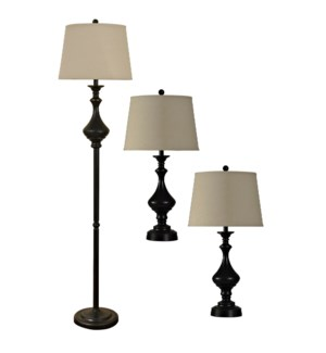 QB-Set of Three Madison Bronze Finish Metal Lamps With Beige Linen Drum Shades