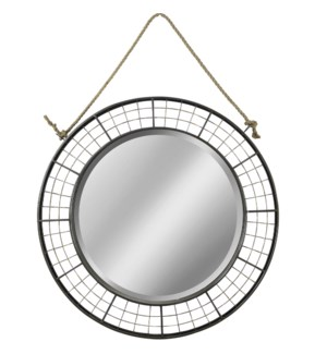 Black Woven Metal Mirror With Rope Hanging
