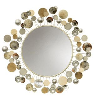 Orbitals   Metal Wall Sculpture Framed Mirror with an Array of Colorful Painted Metal Orbs   Hanging